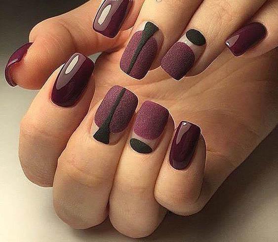 геометрия на ногтях дизайн ногтей бордо