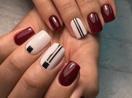 стильные бордовые ногти