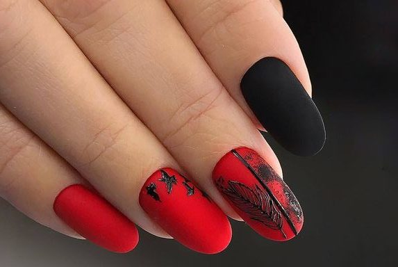 минимализм рисунки на красных ногтях 2019-2020 идеи