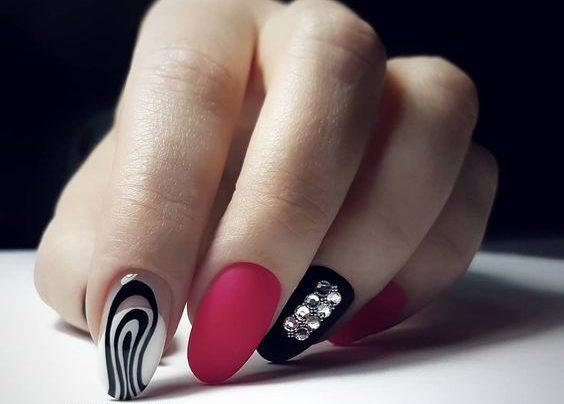 матовый маникюр идеи комбинированного дизайна ногтей идеи